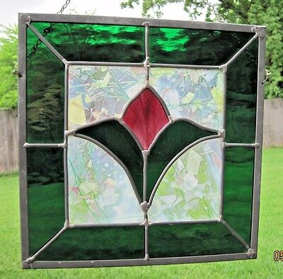 """Stained Glass Window Panel """"Tulip Flower"""" 12.5"""" X 12.5"""""""