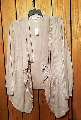 Women's  XXL Old Navy Maternity Long Sleeve Beige Waterfall Cardigan Sweater NWT