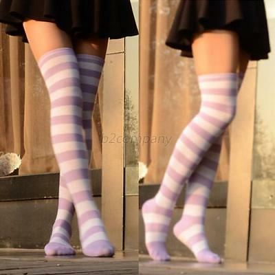 Women Girls Thigh High Striped Over the Knee Cotton Long Socks Purple+White