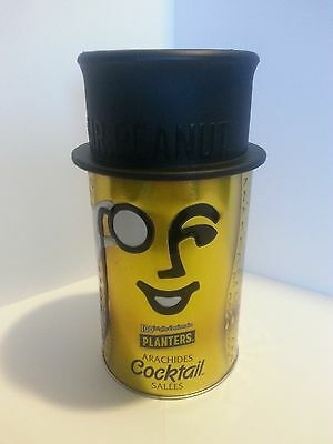 "VINTAGE PLANTERS ""MR PEANUT"" COLLECTIBLE TIN CAN WITH TOP HAT 100th ANNIV."