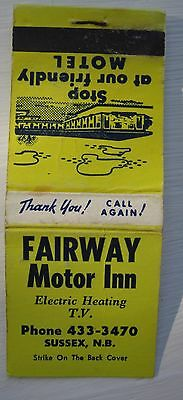 Antique Matchbook Cover Fairway Motor Inn Sussex  New Brunswick