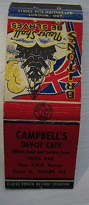 Antique Matchbook Cover Campbell's Depot Cafe Sussex  New Brunswick