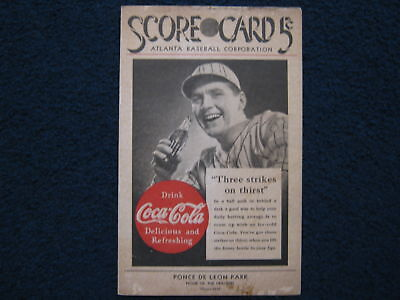 1940  ATLANTA  CRACKERS  Unscored  Score  Card(Minor  League)