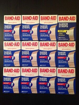 Lot Of 12 BandAid Sheer Strips 40ct Boxes All One Size Lightweight Total 480 NIP