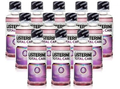 12X Listerine Total Care Mouthwash Clean Mint 6 Benefits In 1 95Ml Travel Size
