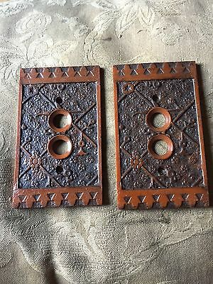 Unusual Pair Of Plastic PUSH BUTTON LIGHT SWITCH COVER PLATES