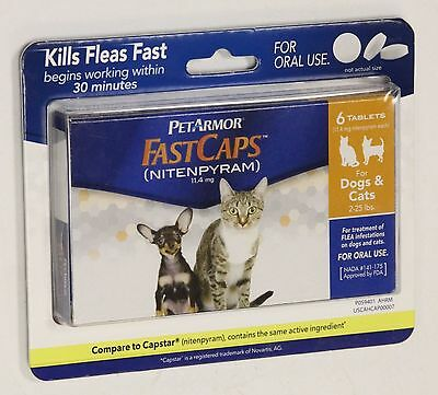 NEW PetArmor FastCaps Flea Treatment Dogs & Cats 2-25 lbs 6 Tablets  z