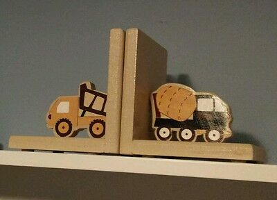 Eddie Bauer Construction Truck Themed Baby Nursery Pair of Wooden Book Ends