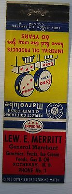 Antique Matchbook Cover Lew Merritt Imperial Esso Oil Rothesay New Brunswick
