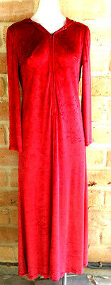 STUNNING VINTAGE 70s RED VELVET HOODED MAXI DRESS! BOHO HIPPY DREAM! M - L