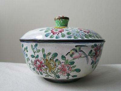 Antique  old CHINESE Canton Enamel on copper covered BOX with bird and flowers