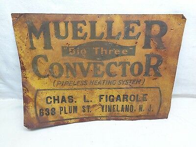 Antique 1920's Mueller Convector Pipeless Heating Tin Advertising Sign