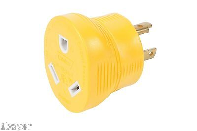 Camco RV Trailer Motor Home Camper Construction 3-Prong Power Generator Adapter