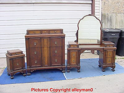 Antique Tauber Bros Carved Bedroom Set Chest & Nightstand ONLY RARE FEET