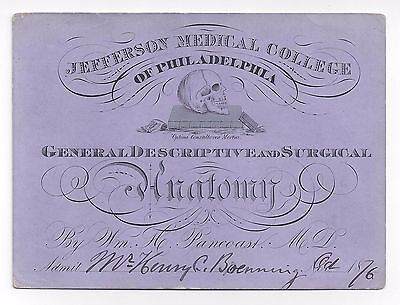 Jefferson Medical College GRAPHIC Skull LECTURE TICKET, Henry C. Lea PRIZE