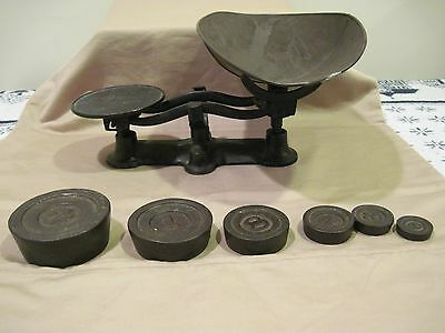 Vintage Black Antique Cast Iron Hardware Candy Counter Scale w/ Weights