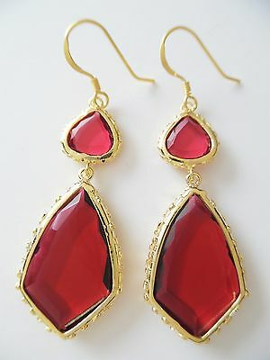 New 18K Yellow Gp Sterling Silver Red Cut Glass French Hook Earrings