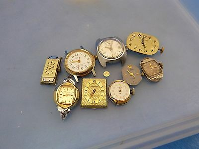 Vintage 9pc Wristwatch Movement Repair Longines Elgin Bucherer Waltham Helbros