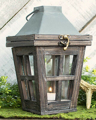 Farmhouse Lantern Wedding Candle Lantern Sidewalk Lantern Distressed Wood/Metal