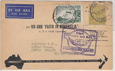 FIRST OFFICIAL AIRMAIL AUSTRALIA TO NZ COVER 1929 AIRMAIL & 4d Olive KGV 5/4/34