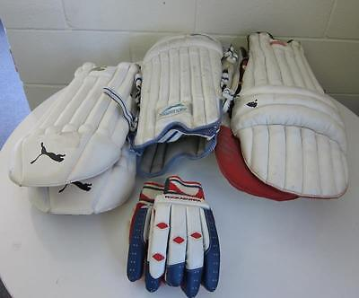 Assorted Slazenger Kookaburra, Puma Cricket leg guards and gloves
