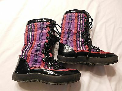 Women's Coach Boots  Size 5 Black Purple and Pink