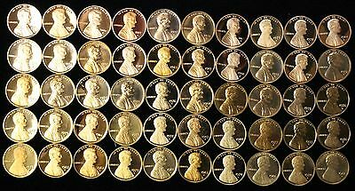 Mixed Date Roll of S Mint PROOF LINCOLN CENTS 50 Coins Total