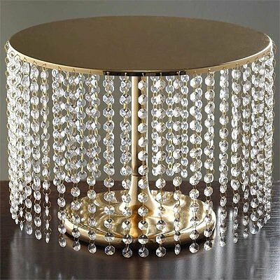 "GOLD METAL 12"" tall Cake Stand with Crystal Pendants Party Wedding Reception"