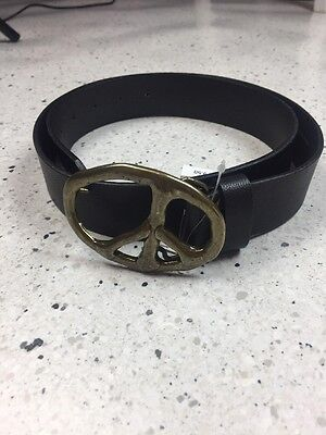Old Navy Black Leather Belt With Peace Sign Buckle, Size ML, NWT