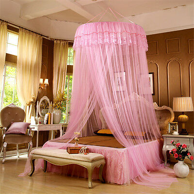 Elegant Lace Mesh Bed Mosquito Net Athena Princess Round Dome Hanging For Girls