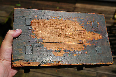 """SMALL ANTIQUE WOODEN FOOT STOOL with MORTISE & TENON CONSTRUCTION * ONLY 5"""" TALL"""