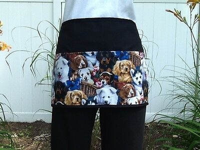 Black server waitress waist apron Dogs 3 pocket  restaurant cafe Classyaprons