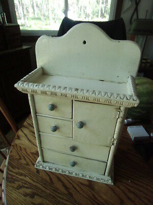 Antique shelf cupboard cabinet drawers apothecary chippy white paint spice rack