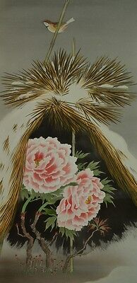 Hanging Scroll Japanese Painting Peony Sparrow Japan Asian Art ink Antique y81