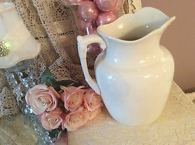 Early White Ironstone China Pitcher Farmhouse Cottage Chic Shabby Ornate Handle