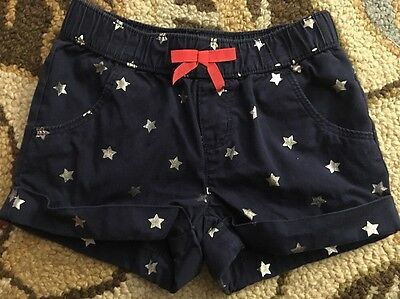 Girls Gymboree Navy Blue With Silver Stars Pocket Shorts Size 4T