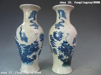 China Folk Regius Old Blue and white porcelain Two Dragon Vase pair