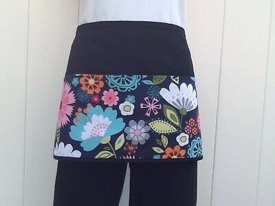 Black Flowers Server waitress waist apron 3 pocket restaurant Classyaprons
