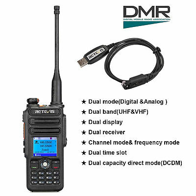 Retevis RT82 Dual Band DMR Radio 3000CH,Compatible with Mototrbo TierⅠ&Ⅱ+ Cable