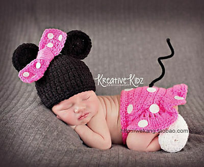 Newborn Baby Girl Crochet Knit Clothes Photo Photography Prop Costume Hat