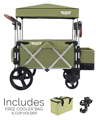 Brand NEW Keenz7S Premium Stroller Wagon (GREEN) cooler bag & cup holder - FREES