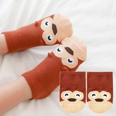 Baby Socks Toddler Kid Infant Boy Girl Ankle Socks Brown Monkey Anti Slip
