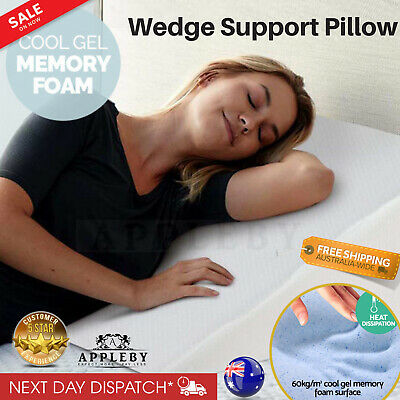 Cool Gel Memory Foam Wedge Support Pillow Cushion Help Acid Reflux Neck Back NEW