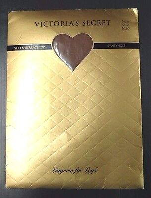 Victoria Secret Silky Sheer Lace Top Pantyhose Nude Small