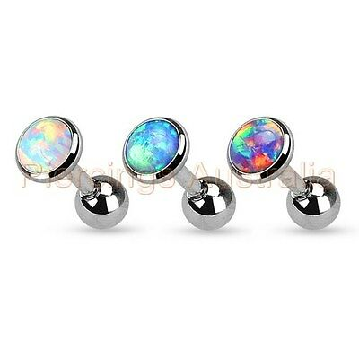 16G Synthetic Opal Cartilage Tragus Bar Ear Ring Piercing Stud Body Jewellery