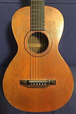 Vintage 1900s American Parlor Acoustic Guitar Hand Signed for Restoration