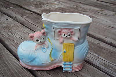 Vintage Napcoware Japan Bears in a Shoe Boot White, Blue, Pink, Yellow, Planter