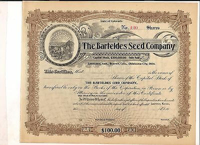 1906 Stock Certificate, Barteldes Seed Company, Lawrence Kansas, Denver Colorado