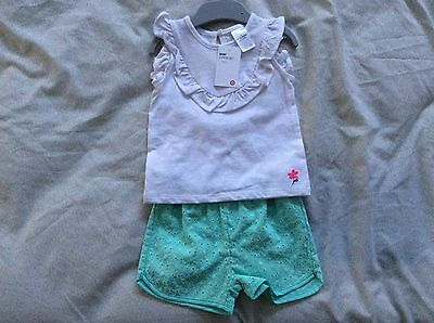 Target Summer Set Baby Girl Size 0 Green Shorts And White Top