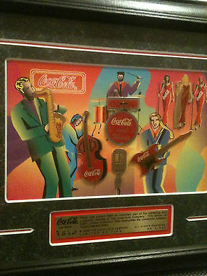 1998 LE Framed Coke Coca Cola + Rock Music Band Saxophone Guitar Drums 6 Pin Set